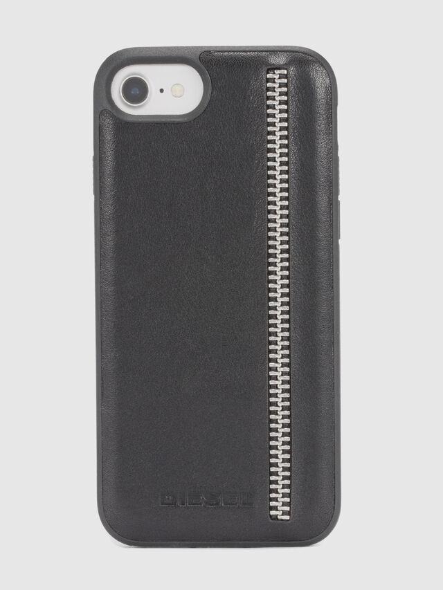 Diesel - ZIP BLACK LEATHER IPHONE 8 PLUS/7 PLUS/6s PLUS/6 PLUS CASE, Black - Cases - Image 2