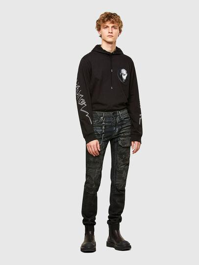 Diesel - T-UST-LS-HOOD, Black - T-Shirts - Image 4