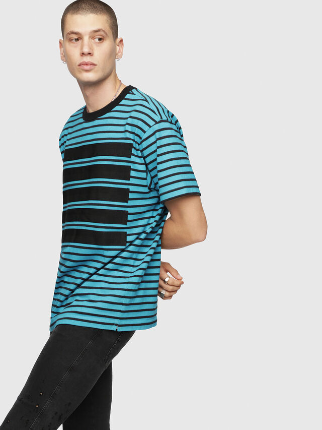 Diesel - T-WALLACE-STRIPE, Turquoise - T-Shirts - Image 1