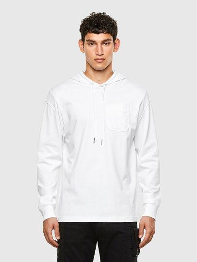 Diesel - T-FONTAL-LS-HOOD, White - T-Shirts - Image 1