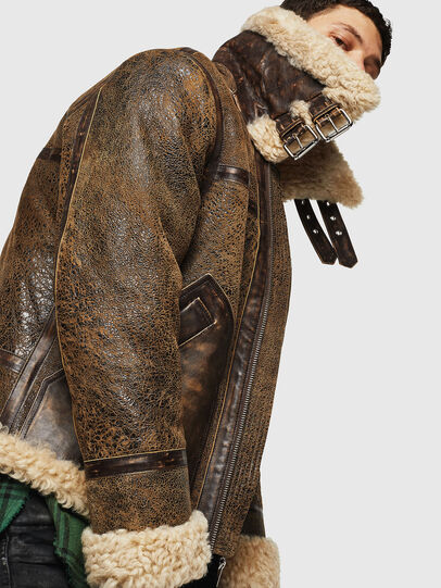 Diesel - L-BALASOVI, Brown - Leather jackets - Image 7