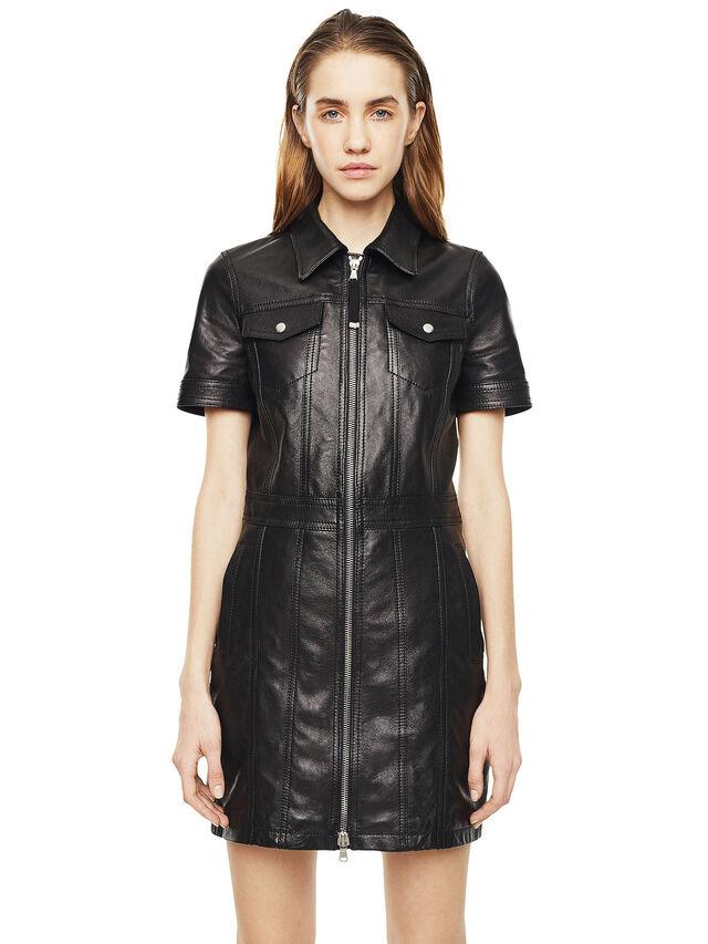 Diesel - DAFFIE, Black Leather - Leather dresses - Image 1
