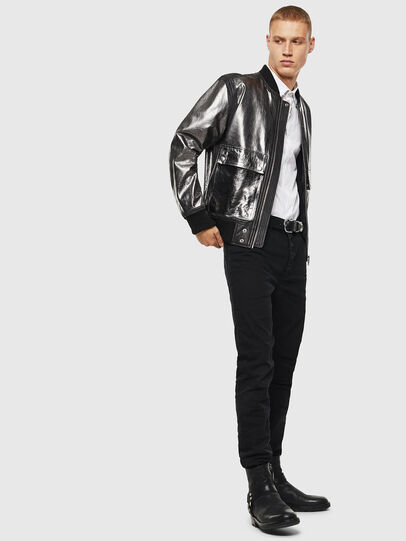 Diesel - L-STEWARD-FOIL, Black - Leather jackets - Image 6