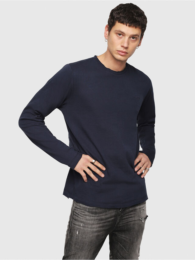 Diesel - T-JUST-LS-ROW, Dark Blue - T-Shirts - Image 1