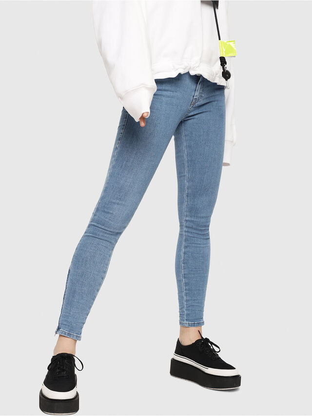 Diesel - Slandy Zip 069FN, Light Blue - Jeans - Image 1
