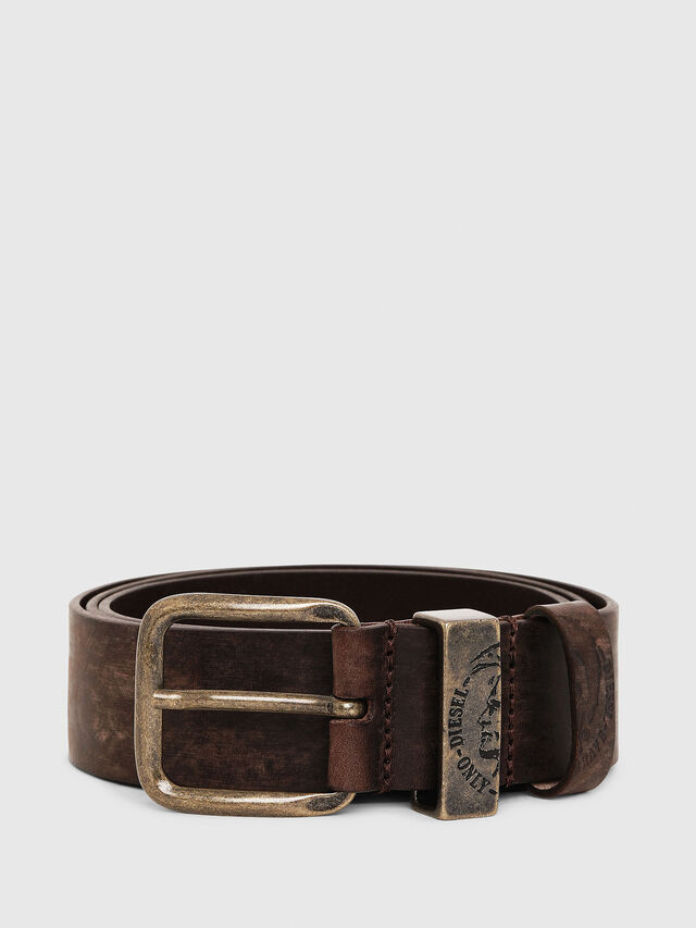 Diesel B-FRAG, Brown Leather - Belts - Image 1