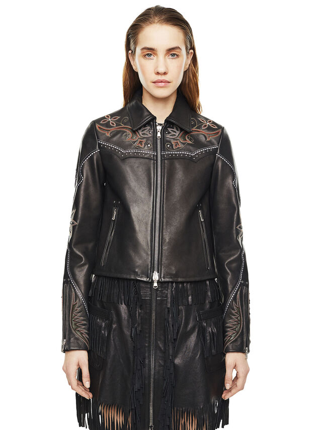 Diesel - LEXIA, Black Leather - Leather jackets - Image 1