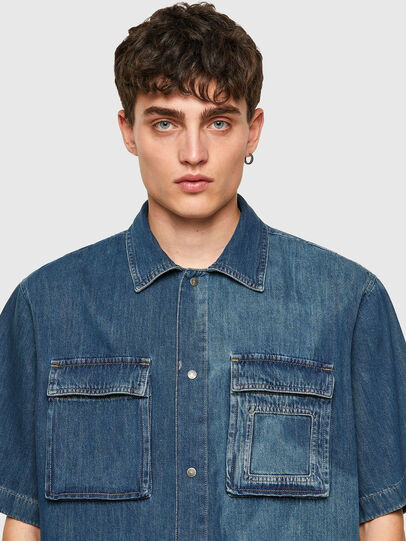 Diesel - D-GUNN-SP, Medium blue - Denim Shirts - Image 3