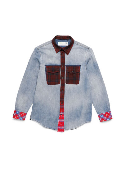 Diesel - D-DEEPCHECK-A, Blue/Red - Denim Shirts - Image 1