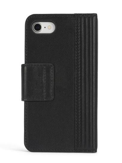 Diesel - BLACK LINED LEATHER IPHONE 8 PLUS/7 PLUS FOLIO, Black - Flip covers - Image 5